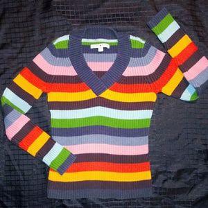 Tommy Hilfiger Womens V Neck Stripped Sweater Sz S